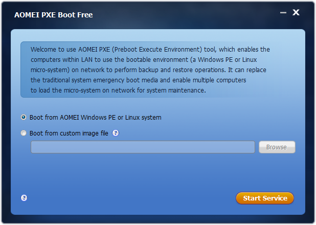 aomei pxe boot のスクリーンショット フリーソフト100