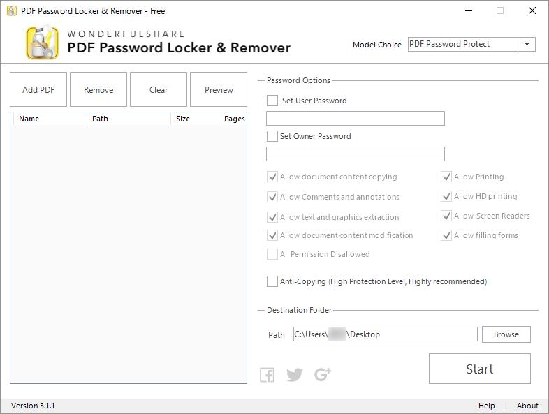 PDF Password Locker & Remover のスクリーンショット - フリーソフト100