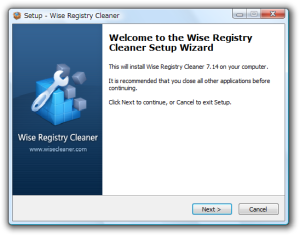 Welcome to the Wise Registry Cleaner Setup Wizard