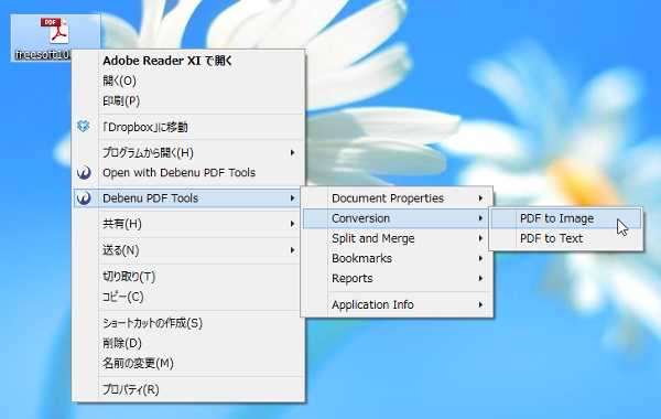 「Debenu PDF Tools」⇒「Conversion」⇒「PDF to Image」
