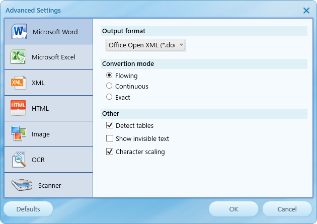Advance Settings - Microsoft Word