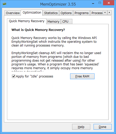 Optimization(最適化) - Quick Memory Recovery(クイックメモリリカバリ)