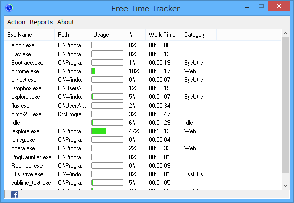Free Time Tracker - メイン画面