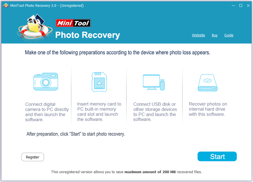 MiniTool Photo Recovery Free - メイン画面