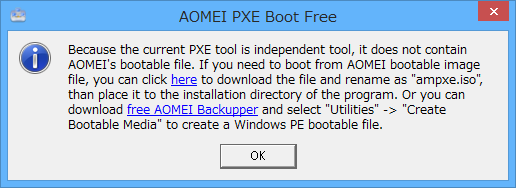 「Boot from AOMEI Windows PE or Linux System」選択時のメッセージ