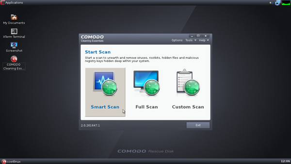 COMODO Rescue Disk の起動 - COMODO Cleaning Essentials