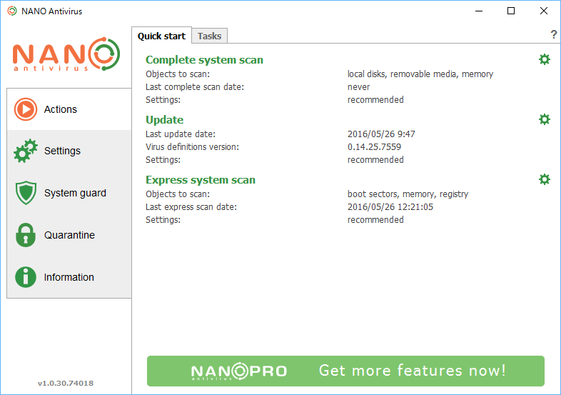 NANO Antivirus - Actions - Quick start