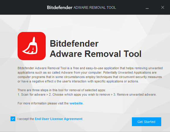 Bitdefender Adware Removal Tool - メイン画面