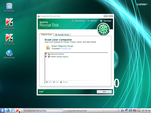 Kaspersky Rescue Disk - Object Scan