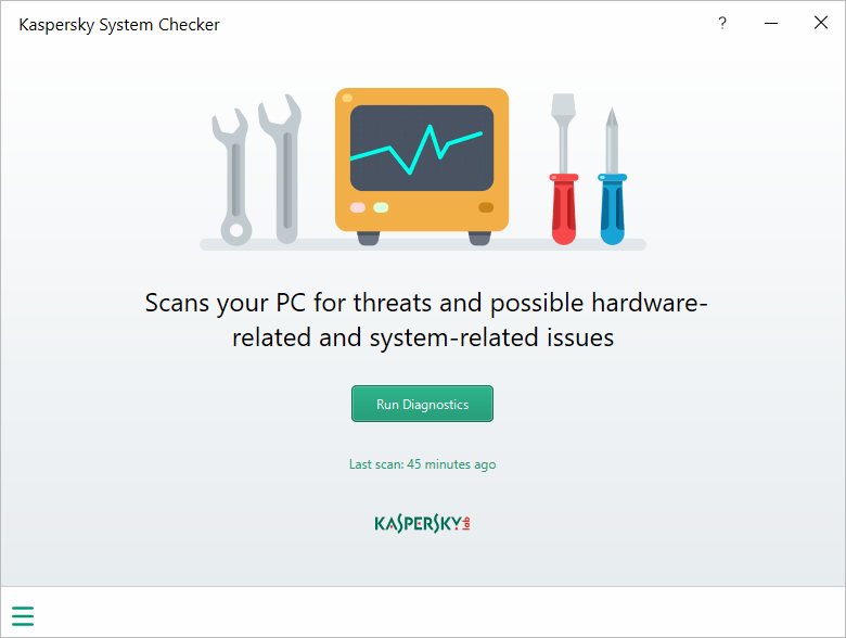 Kaspersky System Checker - メイン画面