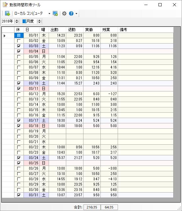 勤務時間取得ツールの評価・使い方 - フリーソフト100