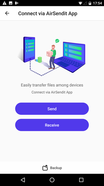 Android - Connect via AirSendit App