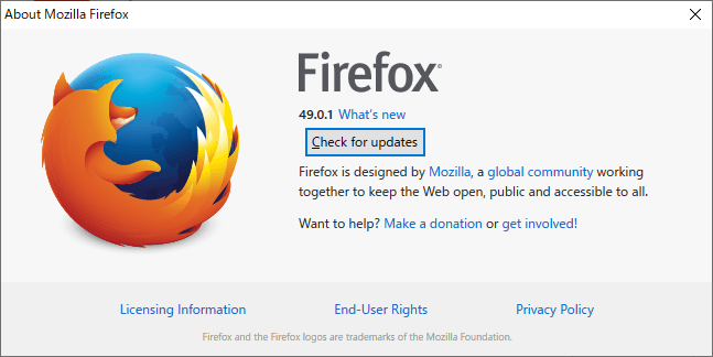 About Firefox 画面で「Check for updates」ボタンをクリックする