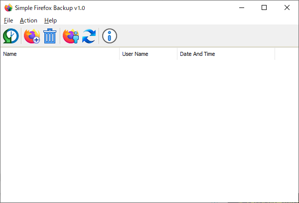 Simple Firefox Backup - メイン画面